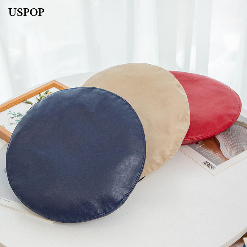 USPOP 2019 New autumn berets for women fashion solid color PU berets female soft warm winter hats in Women 39 s Berets from Apparel Accessories
