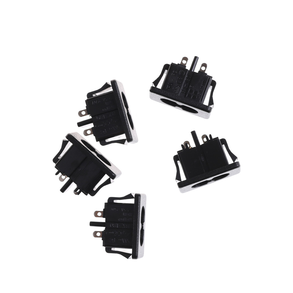 5Pcs AC250V 2.5A IEC320 C8 Male 2 Pins Black Power Inlet Socket Panel Embedded Connector 28 x 16mm5Pcs AC250V 2.5A IEC320 C8 Male 2 Pins Black Power Inlet Socket Panel Embedded Connector 28 x 16mm