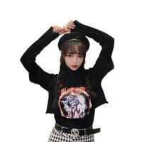 Dog Print Retro Fake Two Pieces Turtleneck Long Sleeve Short Pullover Women Harajuku Streetwear Hip Hop Punk Sweatshirt 50C0021