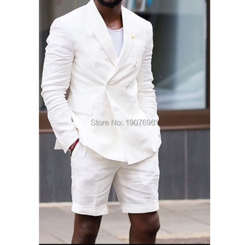White Slim Fit Men Suits for Summer with Double Breasted Two Piece Set Short Pants Jacket Casual Style Wedding Groom Tuxedos