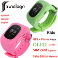 Q50 Funelego Wearable Relógio Inteligente Para As Crianças GPS Tracker Para As Crianças Tela OLED Com Slot Para Cartão SIM De Telefone Celular Bebê Relógio