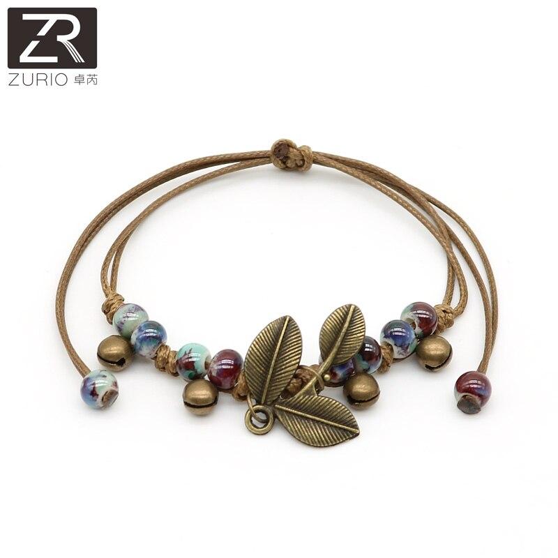 Zurio Fashion Ceramic Bracelets Adjustable Copper Leaf Bracelets Handmade Accessories Traveling Memento Souvenir Wholesale