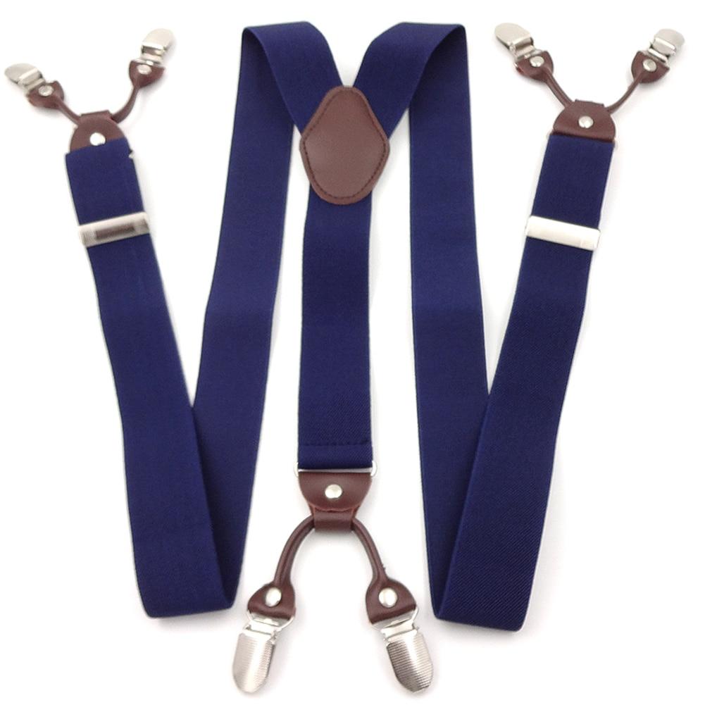 6 Clips Männlichen Casual Hosenträger Vintage Leder Elastische Gewebe Band Legierung Kommerziellen Westlichen Stil Hosen Mann Der Hosenträger Gurt #3