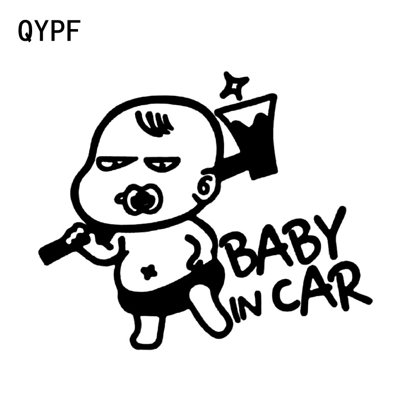 QYPF 15.2CM*12.7CM Interesting Cartoon BABY ON BOARD Baby In The Car Stickers Warning Vinyl Decoration S9-2050