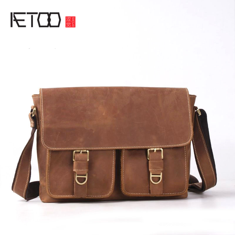 AETOO New men's shoulder bag Messenger bag head layer of cowhide frenzy handmade package cross section casual fashion tide packa qiaobao women general 100% leather handbags tide europe fashion first layer of cowhide women bag hand diagonal cross package