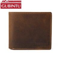 GUBINTU Crazy Horse Leather Men Wallets Vintage Genuine Leather Wallet For Men Cowboy Top Leather Male