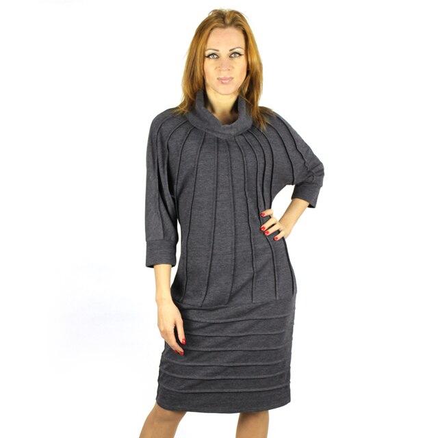 BFDADI 2016 Plus Size Autumn-winter Solid Women Dress Loose Sexy High collar Bat sleeves Women Dresses Vestidos 6247