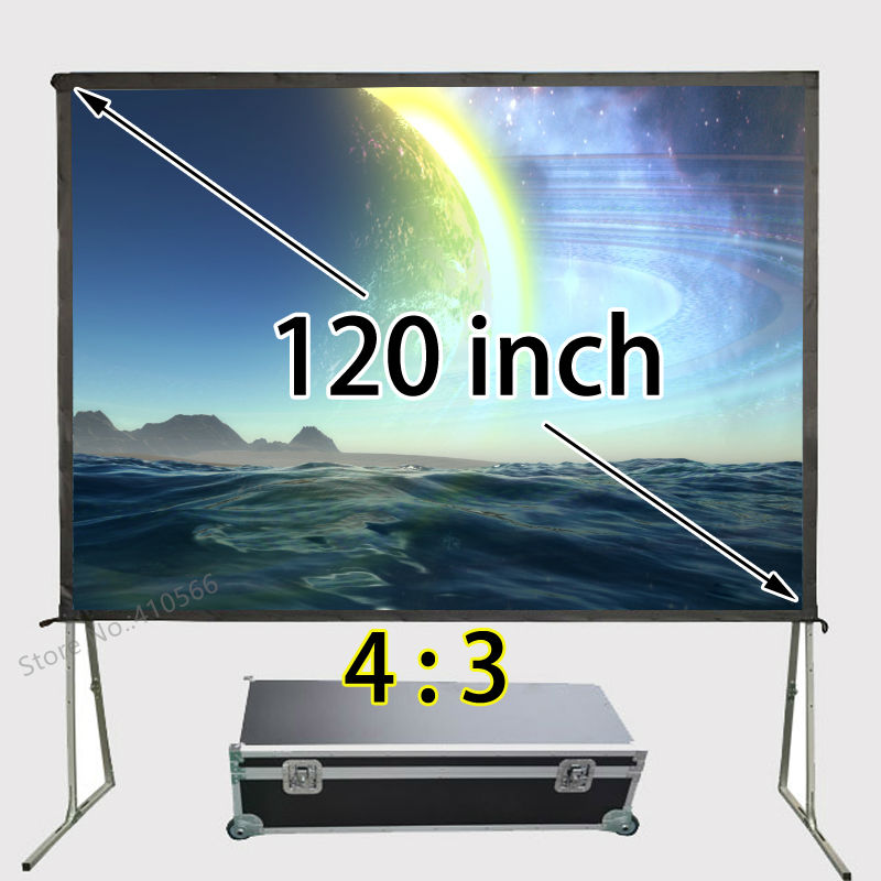 Haute Qualité Arrière-Cour Cinéma Écran De Projection de Cinéma 120 pouces 4:3 HDTV Format Rapide Ouvert Support Au Sol Écrans