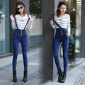 Pantalones Vaqueros de Cintura alta de Las Mujeres Overol de Mezclilla Jumpsuit 2016 Nueva Moda Pantalones Casuales Chicas Flacas Pantalones Lápiz Jeans Femme