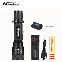 AloneFire TK200 USB Flashlight LED CREE XM L2 T6 Tactical Torch Zoomable Powerful Light Lamp Lighting