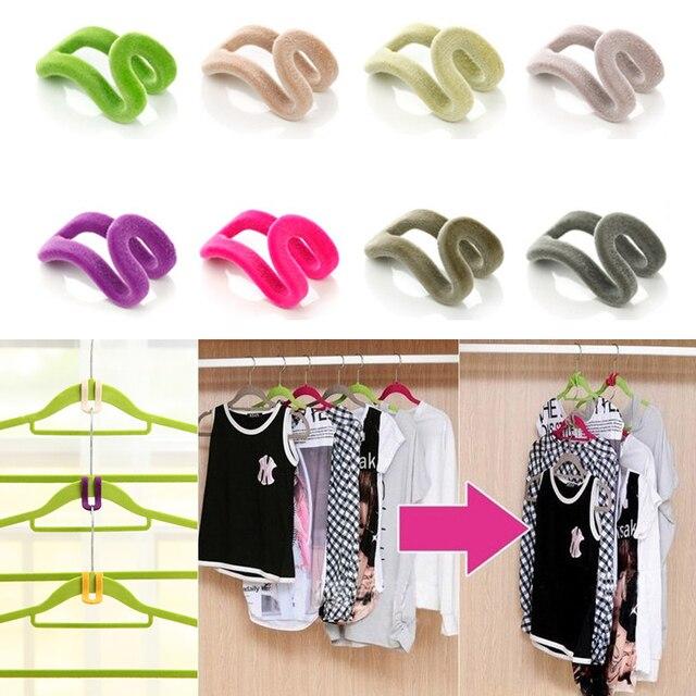 10 Pcs Home Creative Mini Flocking Clothes Hanger Easy Hook Closet  Organizer Random Colors!