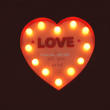 9inch metal heart LOVE shape LED Marquee Sign LIGHT UP  Vintage signs light valentine's day gift wedding Indoor Deration