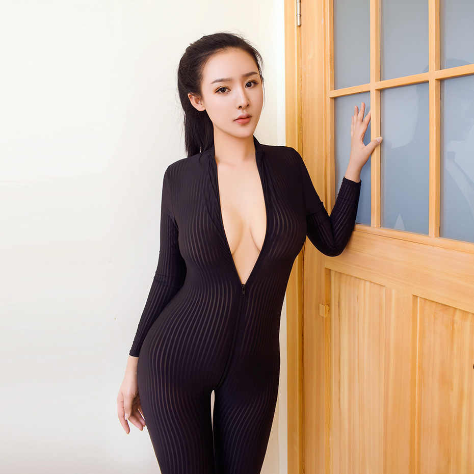 Women Sexy Lingerie Open Crotch Body Stocking Bodysuit Nightwear Sex Underwear Erotic Striped Lingerie Zipper Sexy Costumes