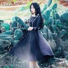 Ubei Spring/Autumn fashion outfit new style elegant retro blue dress England high waist nine points sleeve long