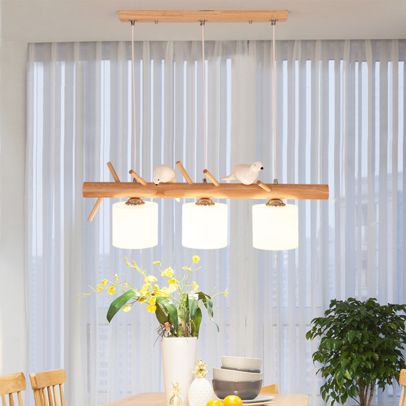 Decorative Nordic Pendant Lights Glass Hanging Lamp Dining Kids Room E27 2/3 Heads Creative Birds Pendant Lamp Wood Led Hanglamp-in Pendant Lights from Lights & Lighting