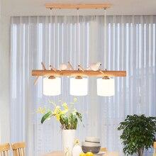 Luces colgantes decorativas de estilo nórdico lámpara colgante de cristal para comedor y habitación de niños, E27, 2/3 cabezas, lámpara colgante creativa de pájaros, lámpara colgante Led de madera