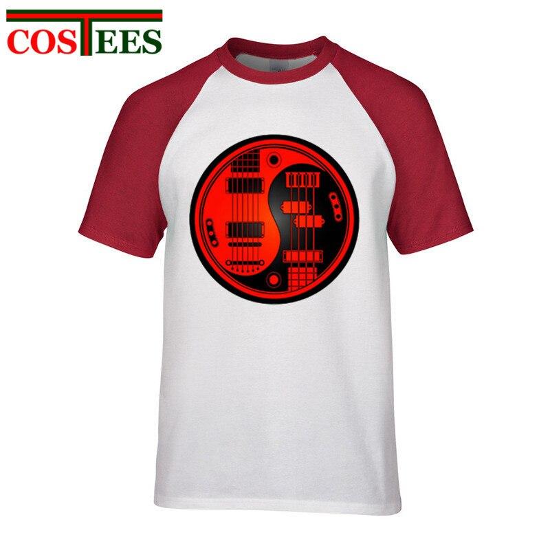 a34bdb018b6b Round Red Black Acoustic Guitars Bass Yin Yang T shirt Party Gift Funny Men  T Shirt Short Sleeve tshirt Cotton T-shirt Camisetas
