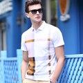 Envío Gratis 2017 Nuevo Estilo Para Hombre de Moda de Verano A Cuadros Tops y Camisetas de Algodón de Manga Corta de Rayas Casual de Las Camisetas