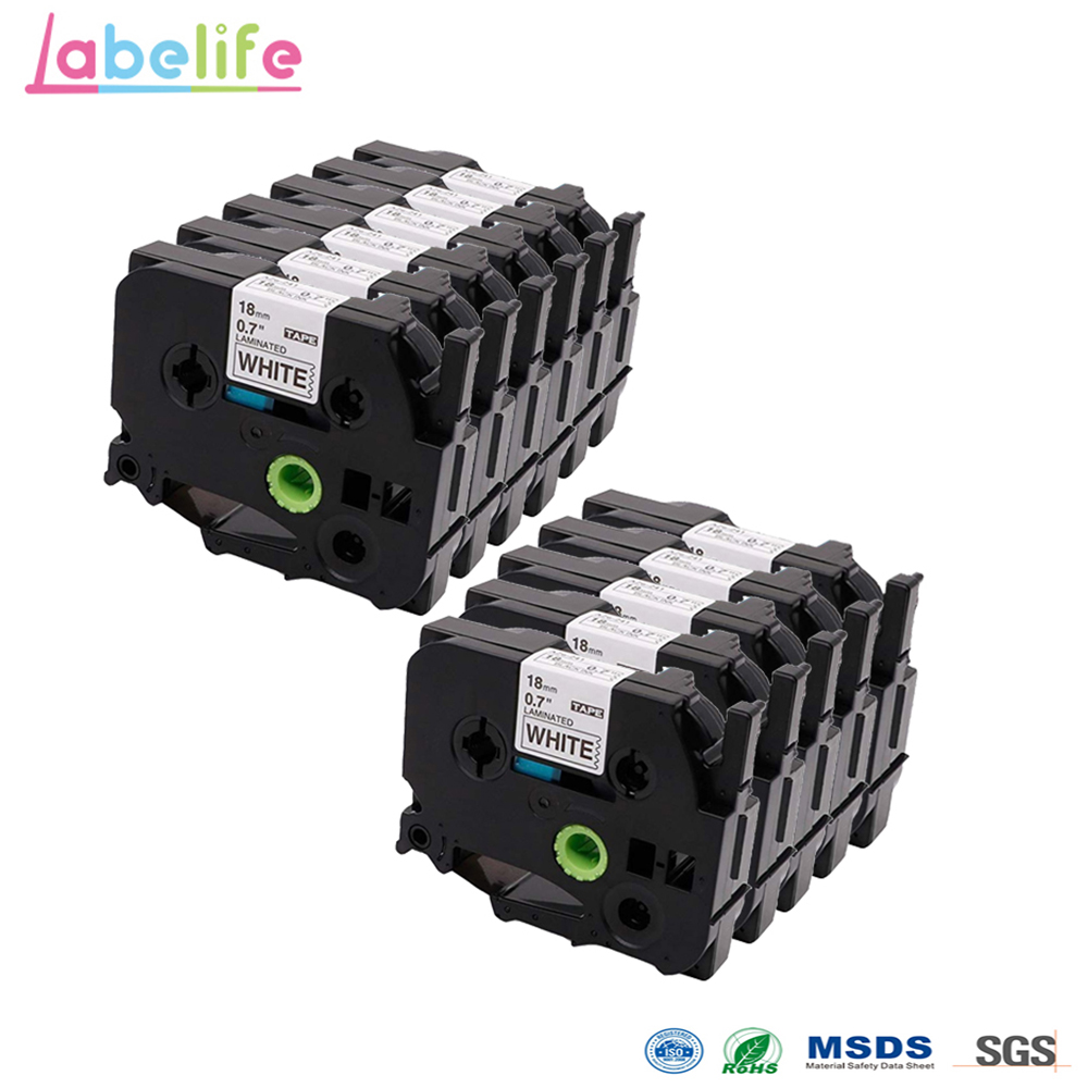 Labelife 10 Pack 18mm * 8 m Zwart op Wit TZe 241 TZe241 Standaard Gelamineerd Label Tape voor brother P  Touch Label Makers & Printer-in Printer Linten van Computer & Kantoor op AliExpress - 11.11_Dubbel 11Vrijgezellendag 1