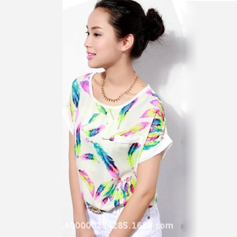 Women T Shirt Feathers print Chiffon Casual Short Sleeve Loose Top 2019 Fashion Summer mom basic clothes korean style funny tee in T Shirts from Women 39 s Clothing
