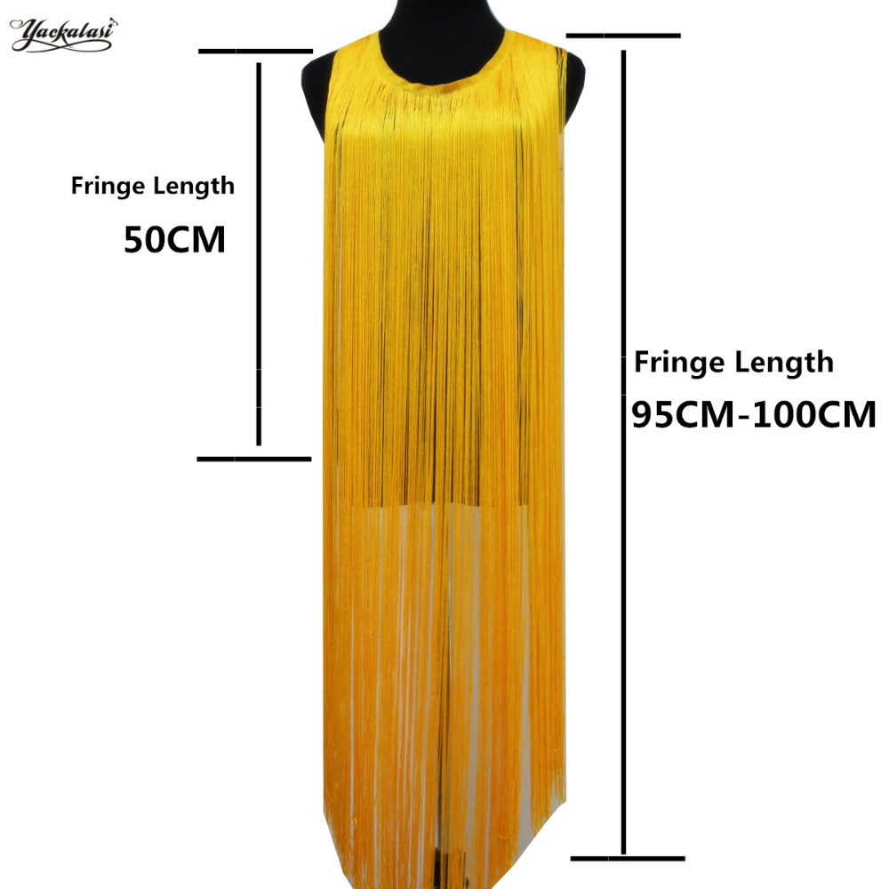 Latin Fringe Tassel Kvinner Kjole Diy Trims 50CM-100CM Lang 3 Yds Latin Kjole Trimming Blonder Single Banded Soft Polyester Macrame