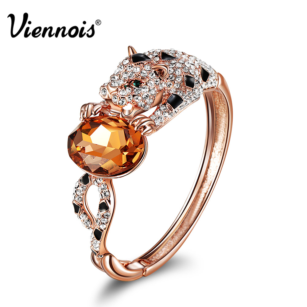 Viennois Rose Gold Color Leopard Bangles for Woman Orange Crystal Full Rhinestone Paved Bangles Female Party Bracelet & Bangles