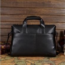 new arrived men's business handbags Genuine Leather Shoulder Bags Men computer briefcare Messenger bag 15.6 inch soft laptop bag