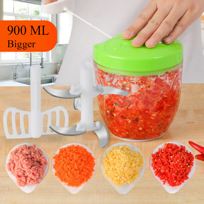 Cutter Chopper Meat-Grinder Twist-Shredder Vegetable Manual High-Speedy 900ML Garlic