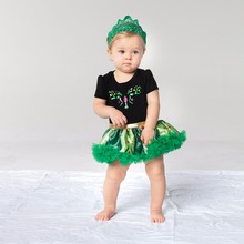 YK&Loving Halloween Costume Anna Elsa Dress Princess Short Sleeve Cotton Satin Green Flower Party Dress Cosplay Baby Clothing