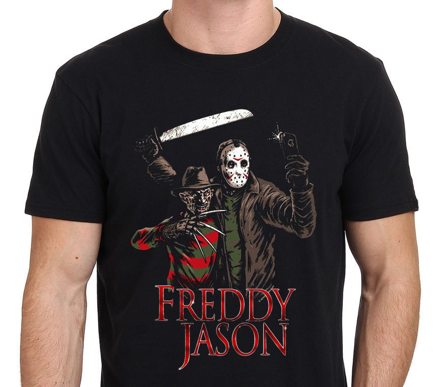 Freddy Krueger Vs Jason 13Th Friday Funny Selfie Design Mens T Shirt Black Print T-Shirt Summer Style Top Tee Cool O-Neck Tops