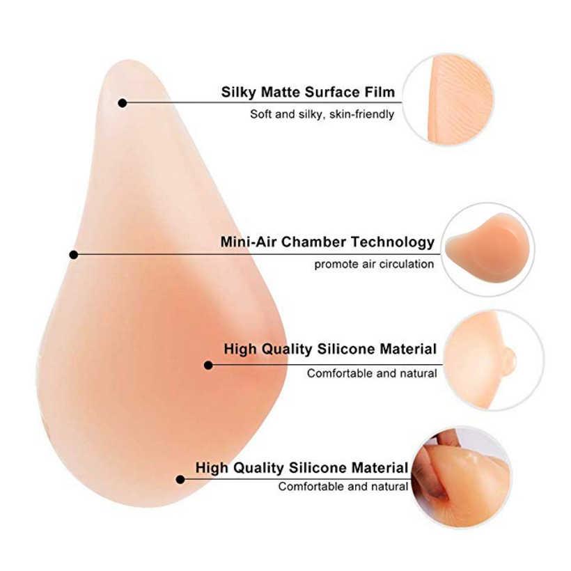 Prótesis de pecho de silicona Artificial con pechos falsos realistas para mujer cruzada D40