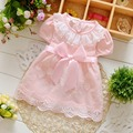 Fashion Summer Short Sleeve Bow Lace baby Party Birthday girls kids Children belted dresses,princess infant Dress S2960