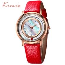 KIMIO Moda Elegante Relojes Para Mujer Relojes Mujer 2016 de Lujo Montre Femme 5 Color de Lujo Banda de Cuero de Señora Quartz-reloj 546