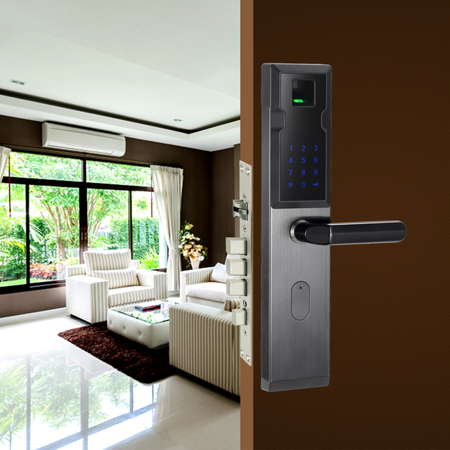 Security Biometric Fingerprint Door Lock Digital Electronic Combination Password Door Lock Smart Entry Office Home