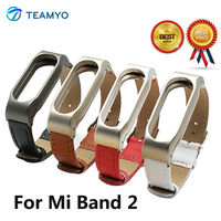 Teamyo Newest Leather Strap For Xiaomi Mi Band 2 With Screwless Metal Frame For Mi Band