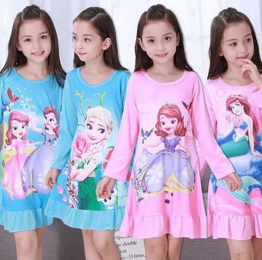 Big Girl Nightdress Hot Sale Spring Autumn Fashion Princess Cartoon Long Sleeve Kids SleepDress Cotton Children Nightgowns YW375