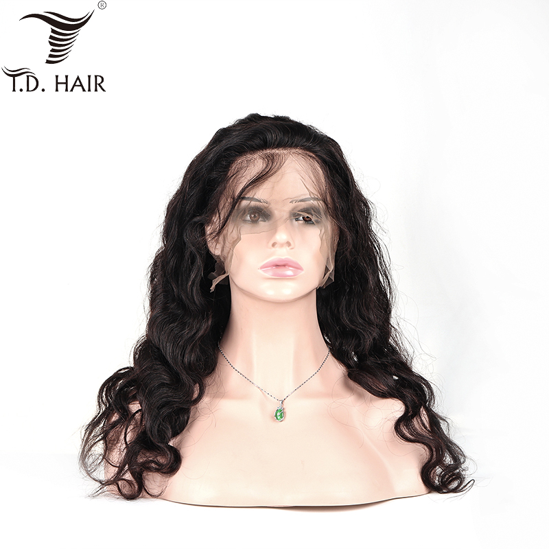 TD Full Lace Wigs Human Hair Natural Color Pre-Plucked Bleached Knots Brazilian Body Wave Remy Hair Wig Full End With Baby Hair