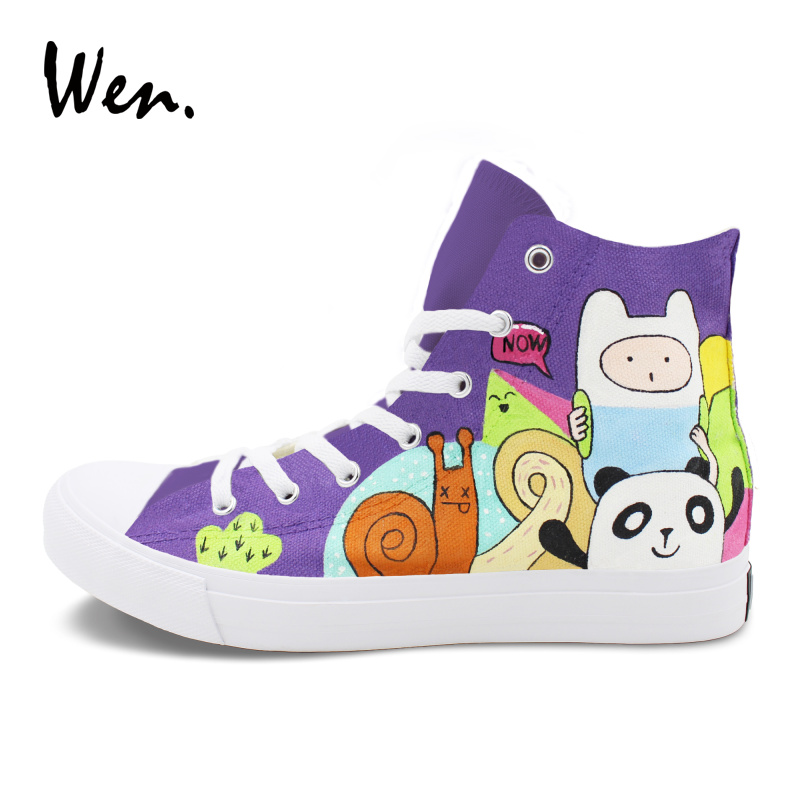 Wen Men Women Sneaker High Top Shoes Design Adventure Time Hand Painted Canvas Shoes Graffiti Painting Lace Up Flat pink lace up design long sleeves top and pleated design skirt two piece outfits
