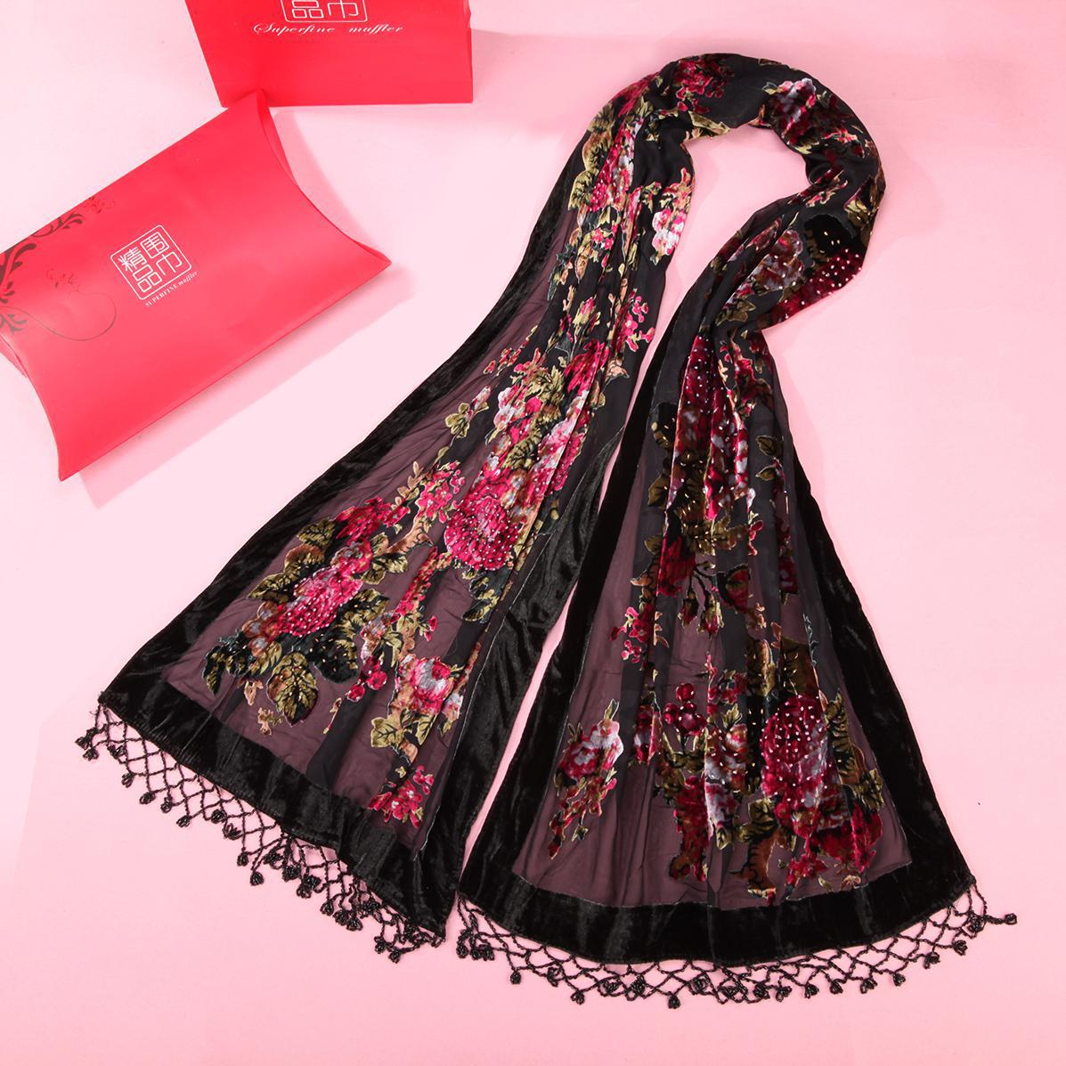 2019 New Long Muslim Hijab   Scarf     Wrap   Shawl Stole Ladies Print Floral Muffler Handmand Beads Kerchief Warm Mujere Bufanda Phocho