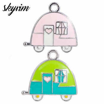 Skyrim Cute Enamel Camping Trailer Car Charms For DIY Necklace Bracelet Floating Pendant Jewelry Making Accessories Kid Gift image