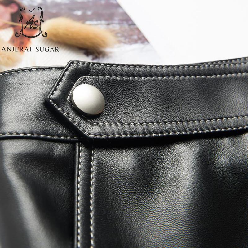 Jupe Peau Hiver Véritable Paquet Courte Becket Automne De Taille Une Ol Haute Ligne Sexy En Femmes Cuir Noir Hanche Mouton Boutons Jupes Mini d8wqTxtES