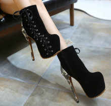 Spell color snakeskin strap high-heeled boots fashion sexy platform thick heel women's shoes