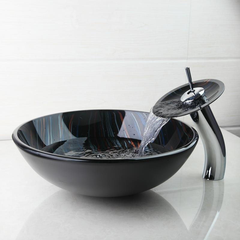 BEST Modern Tempered Glass Basin Bowl Sinks  Vessel Hand Painting Basins With Brass Faucet Taps