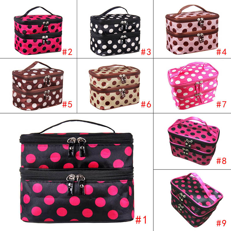 Home cleaning Storage Bag Arrange Double Layer of Cosmetic Bag to Receive Bag Dot Handbag Leather Zipper FG