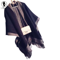 2016 New Autumn Winter Scarves 2 Colors Cotton Warm Soft Fulares Mujer Dual Use Shawl Retro