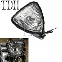 Black Motorcycle Retro Triangle Spot Light Headlight 12V 55W H3 Headlamp For Harley Cafe Racer Bobber Chopper Cruiser Custom