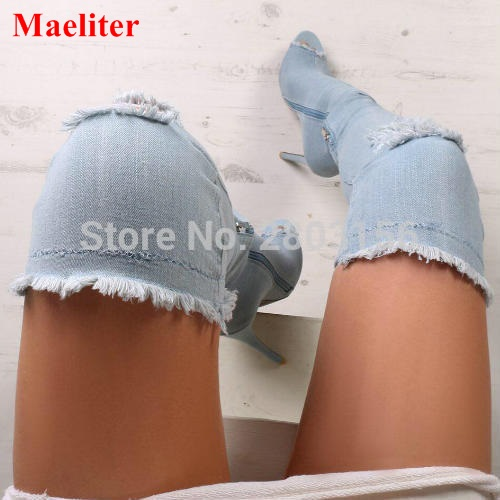 Sexy Women Denim Thigh High Peep toe Boots Thin High Heels Zipper Ladies Over The Knee Long Cowboy Botas fashion blue denim boots women over the knee boots point toe sexy belt decor crystal thigh high boot cowboy high heel long botas