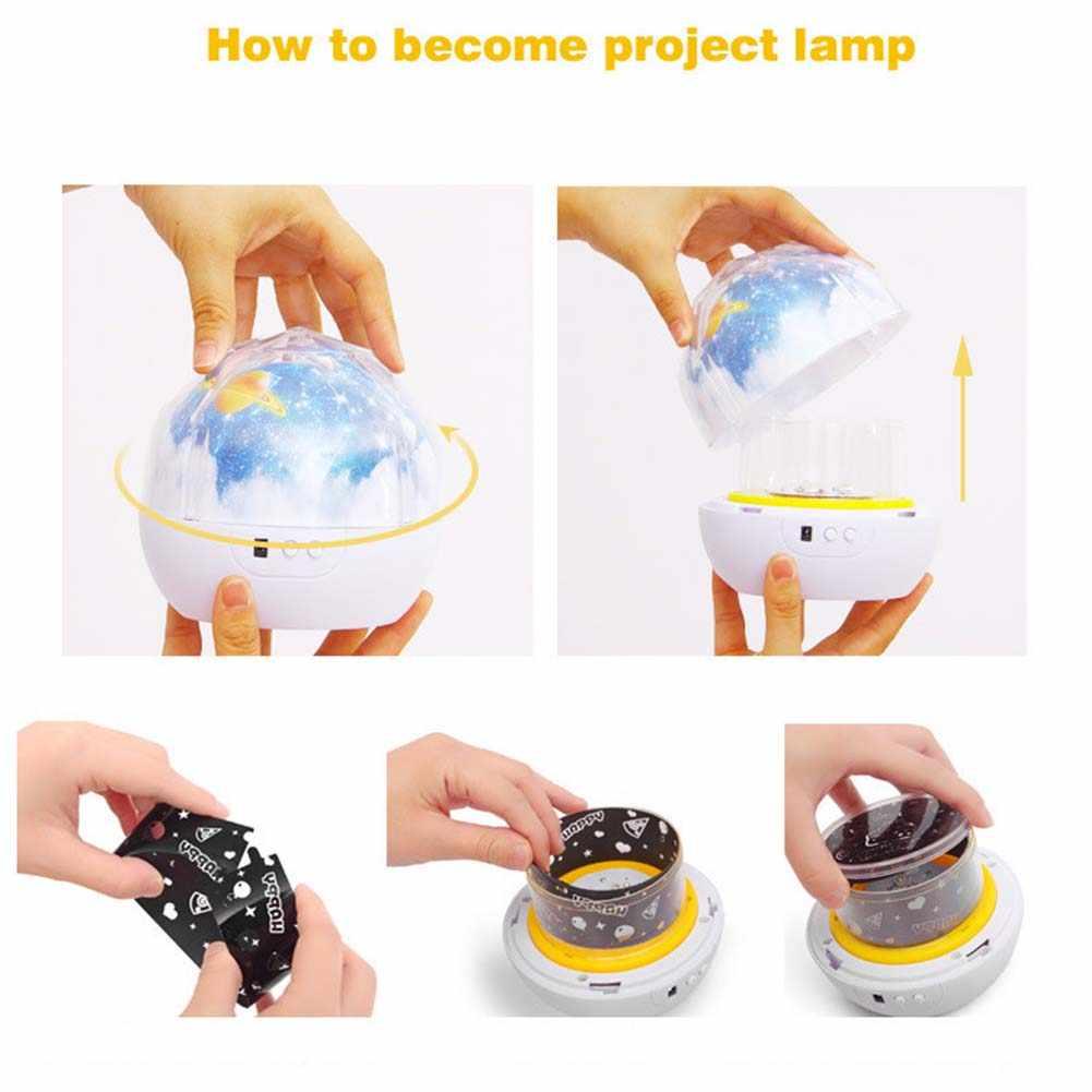 Светодиодный ночник USB Перезаряжаемые звездное небо звезды планета Луна Космос Звезда проектор лампа для детей подарок на день рождения-M25