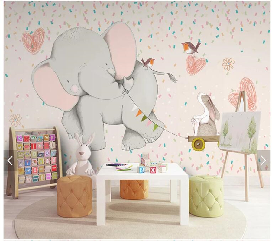 Custom papel pared infantil, cartoon elephant wallpaper mural for children room bedroom sofa backdrop home decor papel de parede custom 3d photo wallpaper children room bedroom cartoon forest house background decoration painting wall mural papel de parede