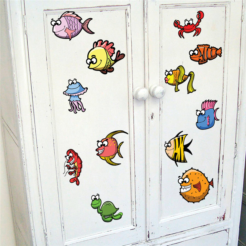 cartoon fashion seabed fish wall stickers for kids rooms kitchen home decor pvc animals wall decals diy mural art wallpaper